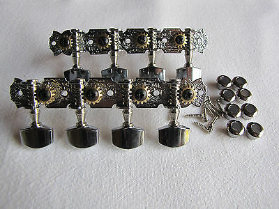 Mandolin A-Style Chrome Engraved Geared Tuners Machine Heads
