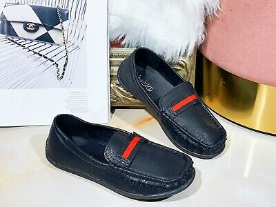 New Children Boys kids Faux Leather Smart Ribbon Loafers Moccasin School Shoes