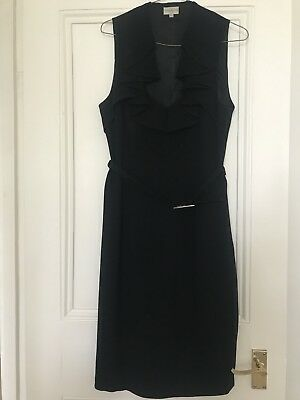 Karen Millen Black Fitted Dress With Pleated Detail. Size 14