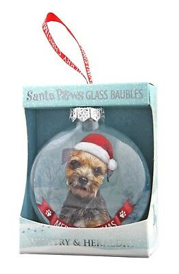 Border Terrier Glass Bauble Christmas Decoration/Ornament Gift/Present Dog