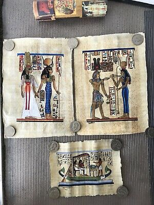 Lot Of 3 PAPYRUS PAPER EGYPTIAN HAND Painted Ancient Paintings Authentic Signed