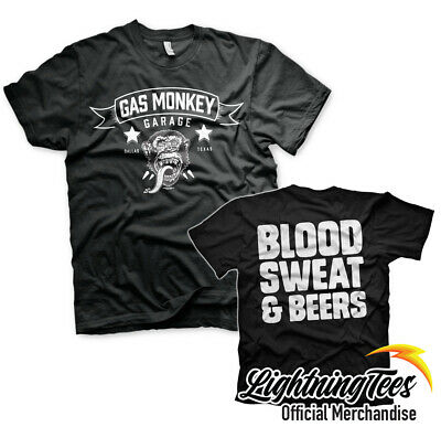 Official Gas Monkey Garage Blood Sweat Beers GMG Fast N Loud T-Shirt
