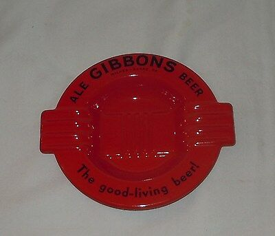 Vintage NOS Gibbons Beer RED Advertising Ashtray Wilkes-Barre PA NEVER USED