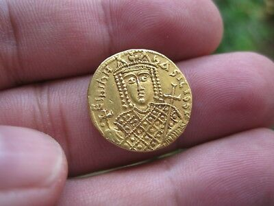 %100 AUTHENTIC BYZANTINE EMPIRE Irene. AD. 797–802. Gold Solidus greek coin rare