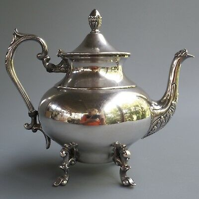 """Antique Vintage Sheffield Silver on Copper Gothic Footed Tea Pot 9.5"""" 3 Lbs"""