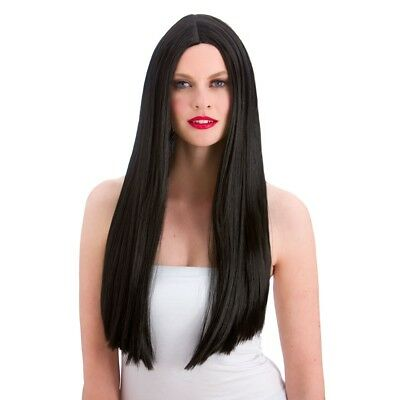 Long BLACK Straight Wig  with Center parting - Witch / Morticia / Hippy