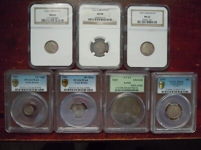 7 High Grade Ngc/pcgs Graded British Coins (1762-1896)  See All Pics