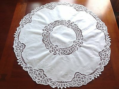Vintage Small Hand Embroidered Ribbon Lace White Cotton Tablecloth 32 Inches