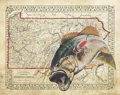 Bass Fishing Anglers Club Minnesota State Map Art Print Tournaments Lures MAP12