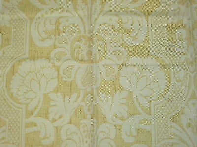 """Lee Jofa CROOME DAMASK Fabric Remnant Linen Cotton Blend YELLOW 24.5 x 35"""""""