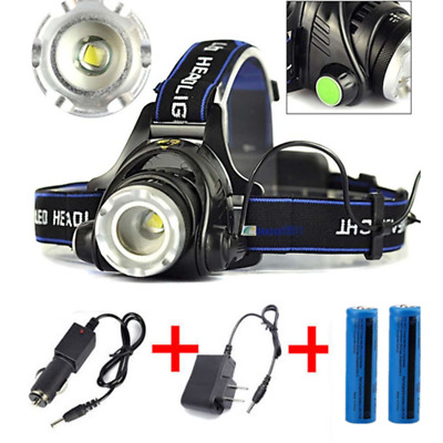 Lot Torch Lamp Headlamp LED Rechargeable Head Light Flashlight Battery Charger