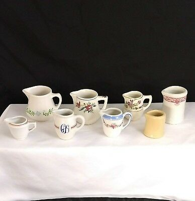 Vintage Lot of 8 Restaurant Ware China Creamers Pitchers Individual Size Collect