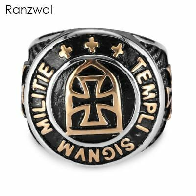 Crusader Cross Ring for Men Punk Rock Templar Knight ring Male Jewelry
