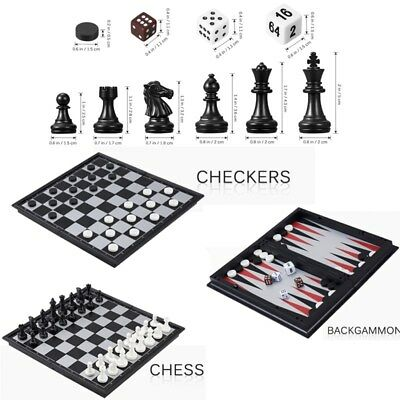 iBaseToy 3 in 1 Magnetic Chess Checkers Backgammon Set Travel Classic Chess Set