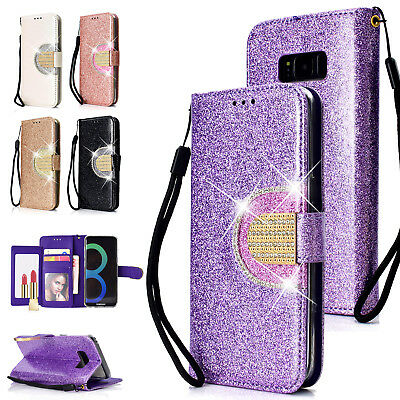 Luxury Leather Glitter Wallet Magnetic Flip Case Cover For Samsung Note 9/S9+/S8