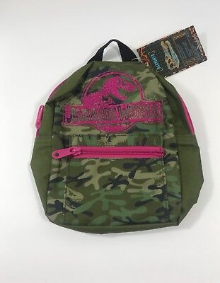 Jurassic Park Jurassic World Girls Pink Camouflage Backpack Shoulder Travel Bag