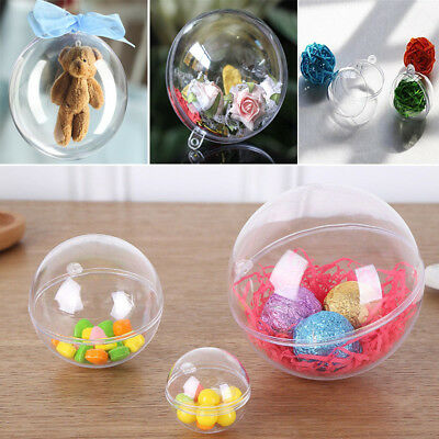 1-100Pc Ball Clear Plastic Christmas Craft Baubles Fillable Xmas Tree Decor Gift