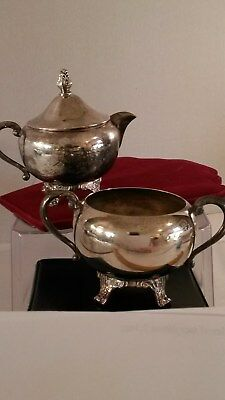 """Sturdy Vntg Rogers Silver-Plate Over Copper Creamer & Sugar Bowl 3 x 5.5"""" + Lid"""