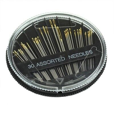 30PCS Assorted Hand Sewing Needles Embroidery Mending Craft Quilt Sew Case J2 MT