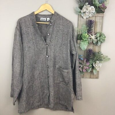 e09f18821c826b Chicos Design 2 L Womens Jacket Pull Over Art To Wear Funky Brown Silk