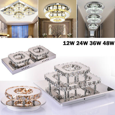 Modern LED Ceiling Lamp Flush Mount Crystal Chandelier Pendant Lighting Fixture