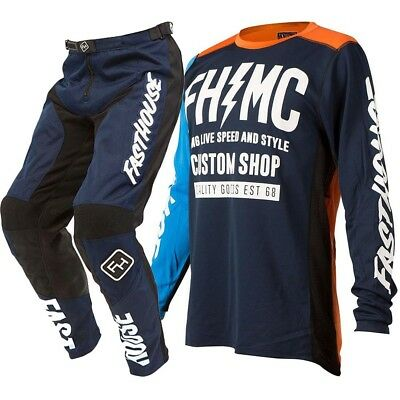 NEW Fasthouse 2019 MX Long Live MC Jersey Pants Navy Orange Motocross Gear Set