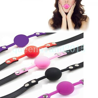 Silicone Leather Strap Harness Big Ball Mouth Gag Muzzle Loackable Restraint New