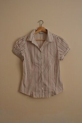 Target Hot Options White Red and Black Striped Blouse Size 10