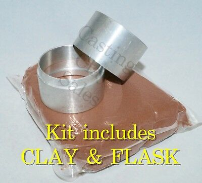 150mm PLUS 5kg Casting Clay Interlocking Flask - Delft Style Sand Rings Silver