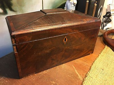 Antique Early Victorian English Rosewood & Mahogany Tea Caddy