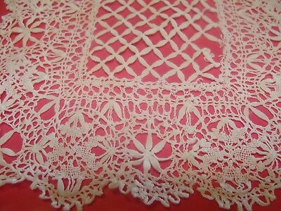 Antique c1900 Handmade Tatting and Lace Doilies/Coaster/Handkerchief Lot of 3