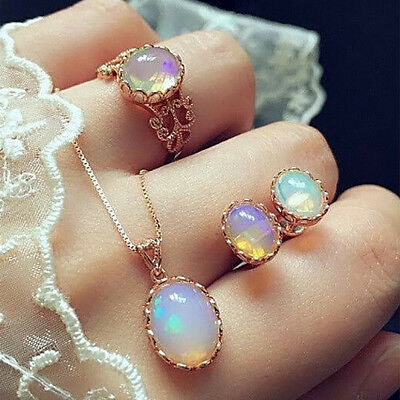 Fashion Elegance Women Rose Gold Crystal Necklace Ring Earring Jewelry Gift Sets