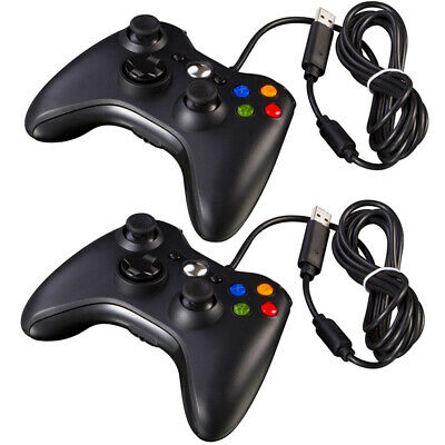 2 Pcs New Black Wired USB Game Pad Controller For Microsoft PC Windows