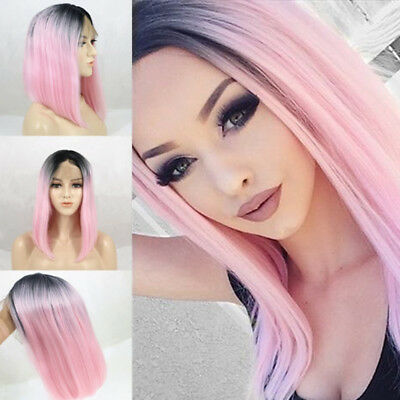 Synthetic Ombre Pink Bob Hair Short Straight Dark Roots Wigs Women Fashion Wig-
