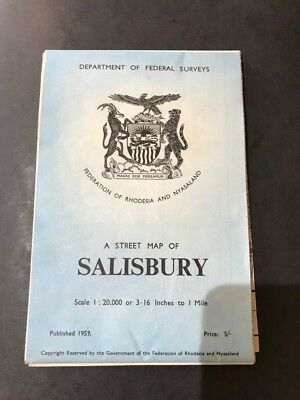 A Street Map of Salisbury 1959 Rhodesia (Very good Condition)