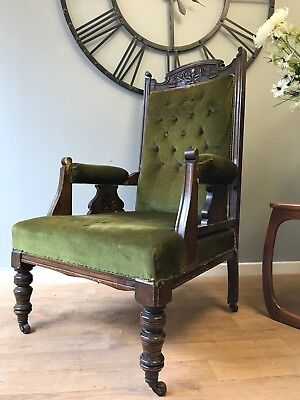 Antique Edwardian Carved Oak Parlour Chair