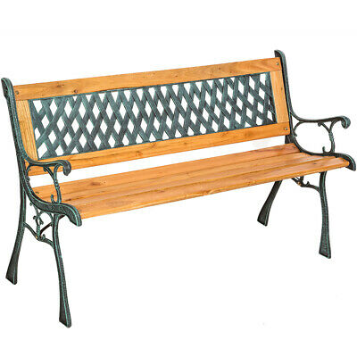Wooden Garden Bench Slat 3 Seat With Cast Iron Legs Wood Furniture Classical