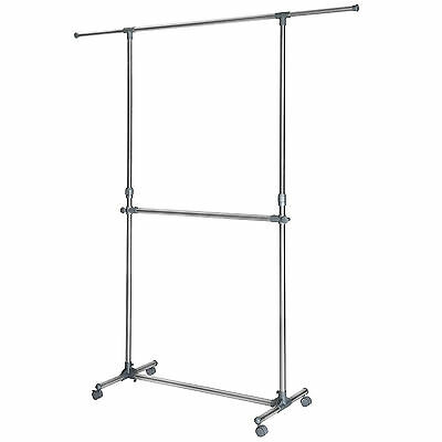 Mobile double clothes rack garment hanging rail metal storage stand on 4 wheels