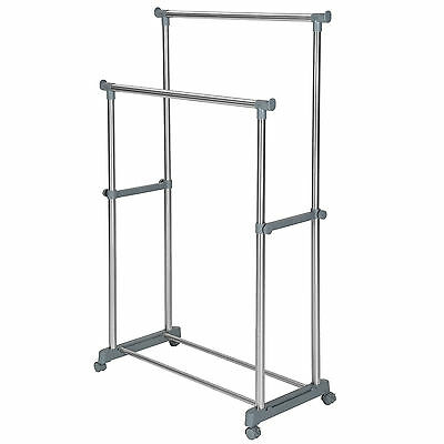 Mobile double clothes rail garment metal storage stand on 4 wheels + shoe rack