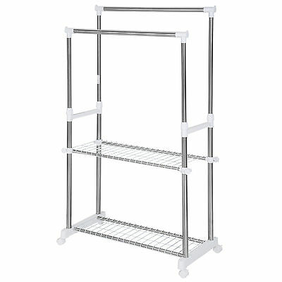 Mobile double clothes rail garment metal storage stand on wheels with shoe rack