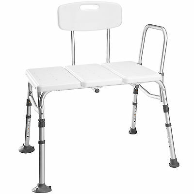 Shower stool with back and armrest bench adjustable height lightweight aluminium
