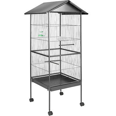 Large bird aviary bird cage bird house animal cage silver anthracite 162 cm high
