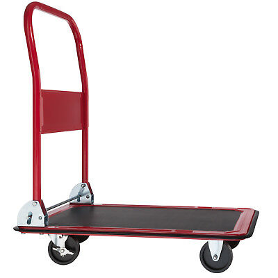 Folding Platform Truck Warehouse Cart Picking Sack Trolley Transport Red 150Kg