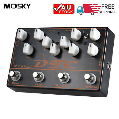 4 in 1 Electric Guitar Multi Effects Pedal Distortion Overdrive Loop Delay W2R8