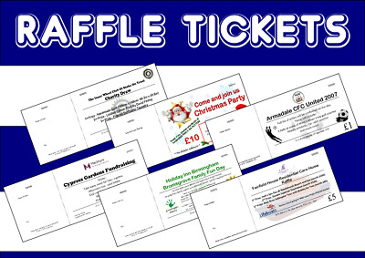 Personalised Raffle Tickets - Printed cloakroom Draw Tickets - FREE P&P - colour