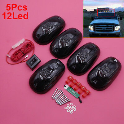 5Pcs 12LED Smoked Cab Roof Top Running Marker Lights Truck SUV Off Road Lamp Set