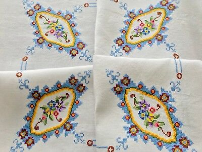Vintage Hand Embroidered off white Linen Tablecloth 37x38 INCHES