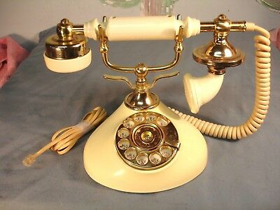 Vintage Victorian Style Rotary PhoneTable Top Light Yellow Brass Works USEDKorea