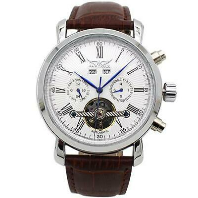Mens Classic Tourbillon Auto Winding Stainless Steel Watch With Leather Band