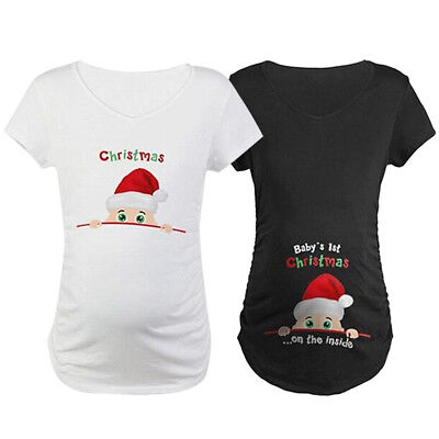 Baby's 1st Christmas on the side Women Maternity T-shirt Pregnant Tops Xmas AU